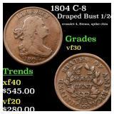 1804 C-8 Draped Bust 1/2c Grades vf++