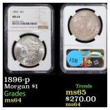 1896-p Morgan $1 Graded ms64