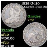 1829 O-110 Capped Bust 50c Grades vf++