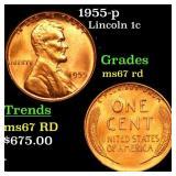 1955-p Lincoln 1c Grades GEM++ Unc RD