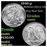 1946-p Walking Liberty 50c Grades Choice+ Unc