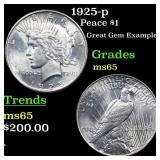 1925-p Peace $1 Grades GEM Unc