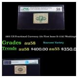 1862 US Fractional Currency 10c First Issue fr-124