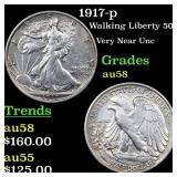 1917-p Walking Liberty 50c Grades Choice AU/BU Sli