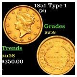 1851 Type 1 G$1 Grades Choice AU/BU Slider