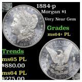 1884-p Morgan $1 Grades Choice Unc+ PL