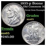 1935-p Boone Old Commem 50c Grades GEM Unc