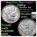 *Highlight* 1898-p Barber 25c Graded ms64+