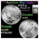*Highlight* 1922-p Peace $1 Graded ms66