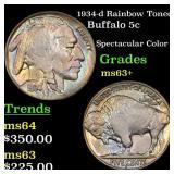 1934-d Rainbow Toned Buffalo 5c Grades Select+ Unc