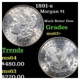 1891-s Morgan $1 Grades Select+ Unc