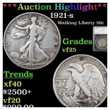 *Highlight* 1921-s Walking Liberty 50c Graded vf25