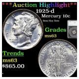*Highlight* 1925-d Mercury 10c Graded ms63