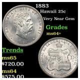 1883 Hawaii 25c Grades Choice+ Unc