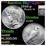 *Highlight* 1926-p Peace $1 Graded ms66