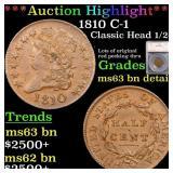 *Highlight* 1810 C-1 Classic Head 1/2c Graded ms63