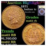 *Highlight* 1871 Indian 1c Graded Select Unc RB