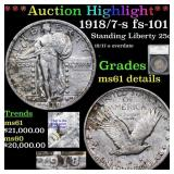 *Highlight* 1918/7-s fs-101 Standing Liberty 25c G
