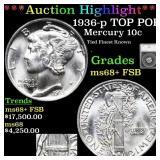 *Highlight* 1936-p TOP POP! Mercury 10c Graded ms6