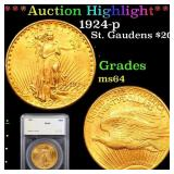 *Highlight* 1924-p St. Gaudens $20 Graded ms64
