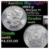*Highlight* 1892-p Morgan $1 Graded ms65