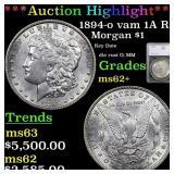 *Highlight* 1894-o vam 1A R5 Morgan $1 Graded ms62