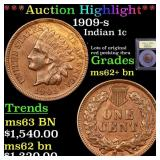 *Highlight* 1909-s Indian 1c Graded Select Unc BN
