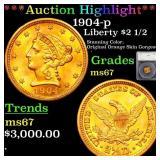 *Highlight* 1904-p Liberty $2 1/2 Graded ms67