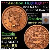 *Highlight* 1855 N4 Mint Error Braided Hair 1c Gra