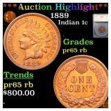 *Highlight* 1889 Indian 1c Graded pr65 rb
