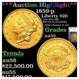*Highlight* 1859-p Liberty $20 Graded au55