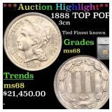 *Highlight* 1888 TOP POP! 3cn Graded ms68