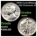 1936 Lynchburg Old Commem 50c Grades Choice Unc