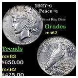 1927-s Peace $1 Grades Select Unc