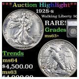 *Highlight* 1928-s Walking Liberty 50c Graded ms63