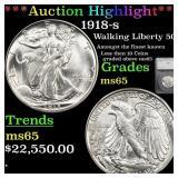 *Highlight* 1918-s Walking Liberty 50c Graded ms65
