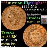 *Highlight* 1833 N-6 Coronet Head 1c Graded ms62+