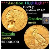 *Highlight* 1928-p Indian $2 1/2 Graded ms65