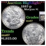*Highlight* 1887-p Morgan $1 Graded ms67