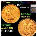 *Highlight* 1901 Indian 1c Graded ms66 rd