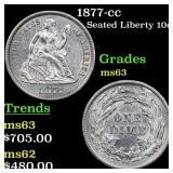 1877-cc Seated Liberty 10c Grades Select Unc