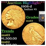 *Highlight* 1908-d Indian $5 Graded ms63