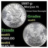 1897-p Morgan $1 Grades GEM Unc