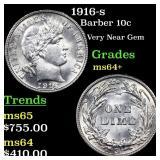 1916-s Barber 10c Grades Choice+ Unc