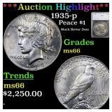 *Highlight* 1935-p Peace $1 Graded ms66