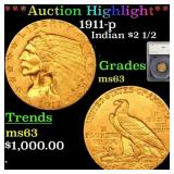 *Highlight* 1911-p Indian $2 1/2 Graded ms63