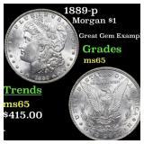 1889-p Morgan $1 Grades GEM Unc