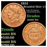 1851 Braided Hair 1/2c Grades Unc+ BN