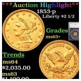 *Highlight* 1853-p Liberty $2 1/2 Graded ms63+