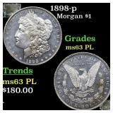 1898-p Morgan $1 Grades Select Unc PL